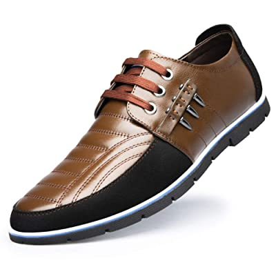Mens Driving Moccasin Brogue Leather Shoes Classic Loafers Oxford Lace Up Casual Business Men Comfort Walking Business Office | Loafers & Slip-Ons