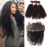 Longqi Hair Brazilian Curly Virgin Hair Weaves 3 Bundles with 1pc 13x4 Ear to Ear Full Lace Frontal Closure, unprocessed human hair extensions (22 24 26+20, Free Part Frontal)