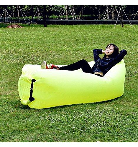 Sofa - Hamaca hinchable Airsoft verde neón 100% Nylon con Bolsa de ...