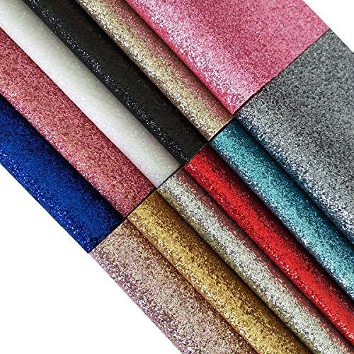 [해외]12Pcs Sparkle Glitter Faux Leather Sheet Canvas Backing Pure Color Glitter Fabric Sheet / 12Pcs Sparkle Glitter Faux Leather Sheet Canvas Backing Pure Color Glitter Fabric Sheet