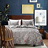 S Hotel Collection Luxury Brushed Microfiber 3 Pieces Leaves Pattern Duvet Cover Set, Includes 1 Comforter Cover 2 Pillow Shams