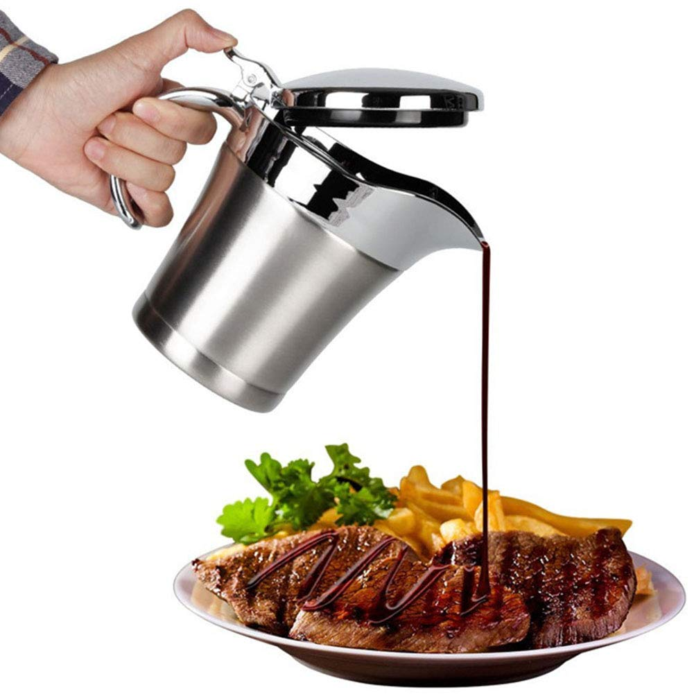 ShineMe Stainless Steel Gravy Boat 25oz Sauce Jug with Lid, Double Wall Insulated, Storage for Gravy or Cream, Used at Home & Kitchen by ShineMe (Image #4)