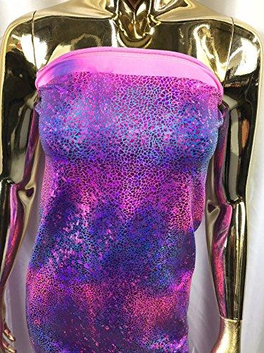 Lycra Spandex Fabric - Pink/Purple - Iridescent 4 Way Stretch Foil Metallic 60