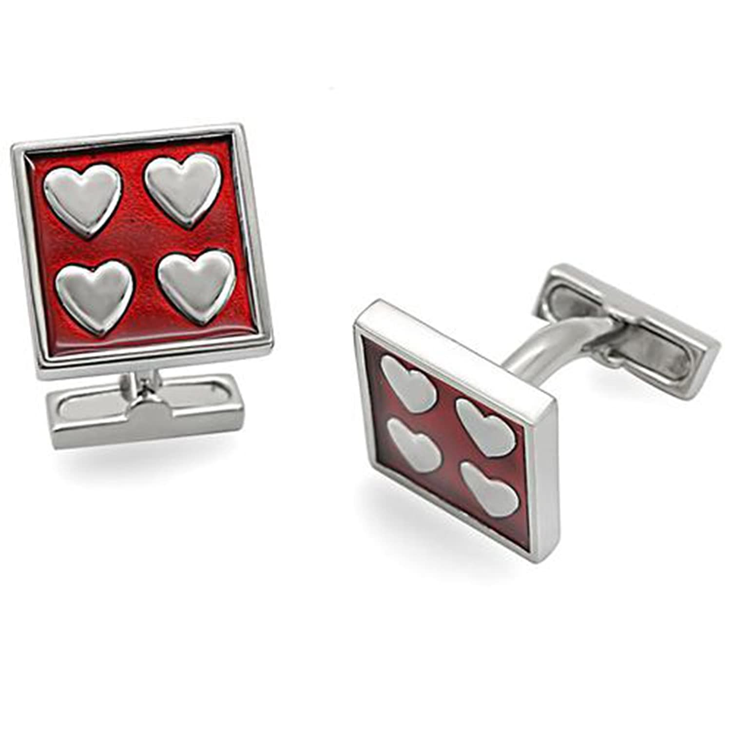 Red Enamel (Epoxy) Rhodium Plated Square Cufflinks with Heart Pattern