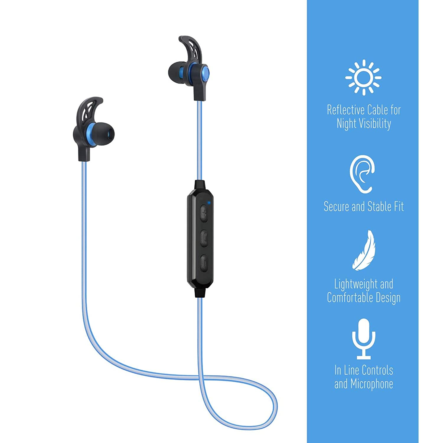 Amazon.com: Jarv Wave Reflect Bluetooth Headphones,Wireless Earbuds Sweatproof Earphones with Reflective Cable and Secure Fit for iPhone Xs Max, XR, X, ...