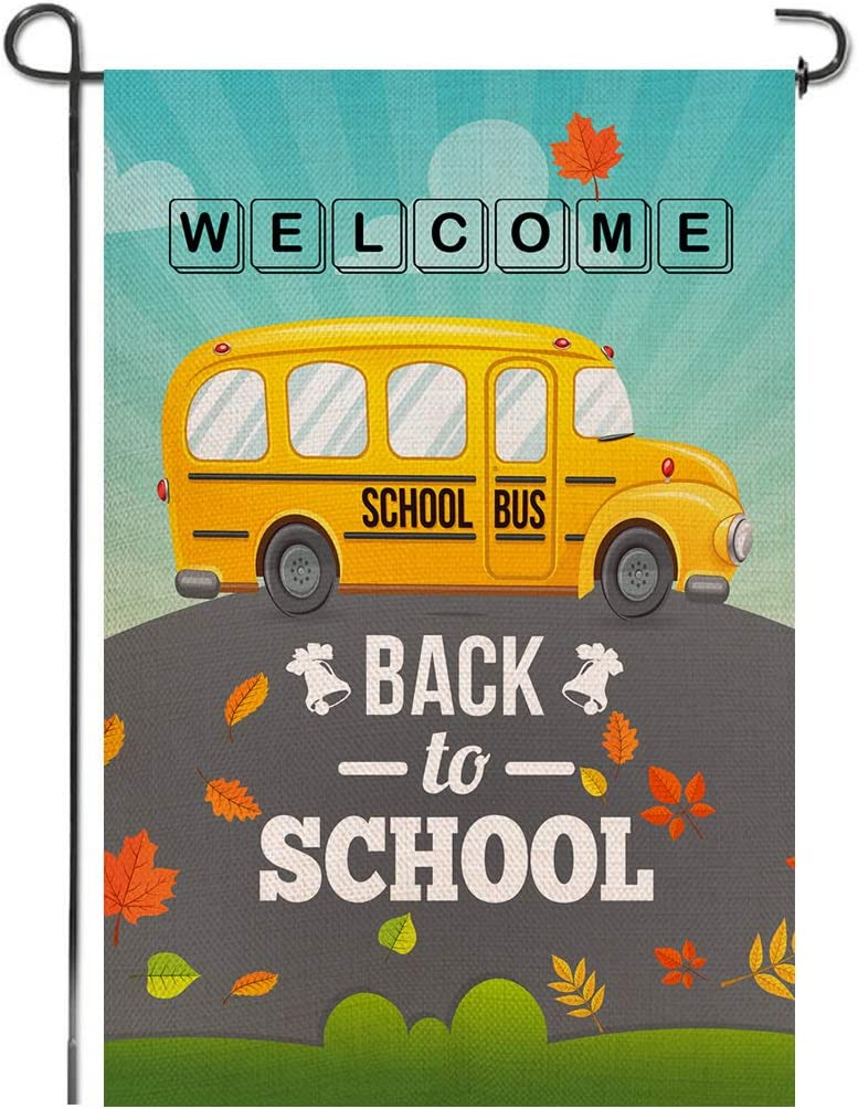 Shmbada Back to School Welcome Burlap Garden Flag, Premium Material Double Sided, Fall Leaves Yellow Bus Outdoor Yard Lawn Colorful Decorative Banner, Gift for Children 12.5 x 18.5 Inch