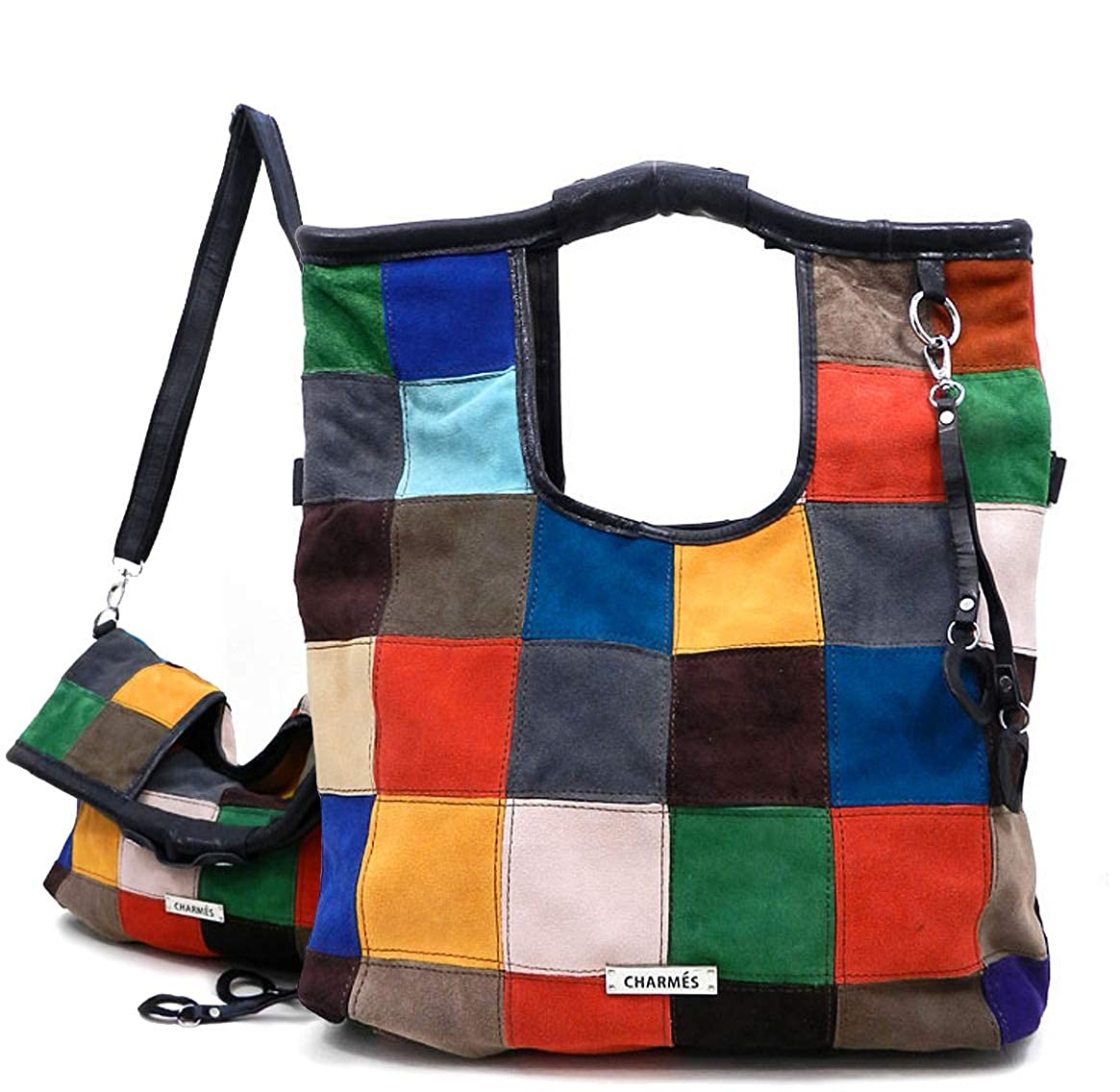 Charmes color Block Suede Leather Fold Over Tote Crossbody
