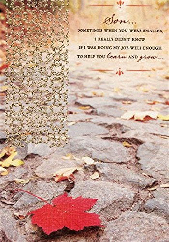 Textured Red Leaf on Stone Walkway with Gold Foil: Son - Designer Greetings Religious Birthday Card ()