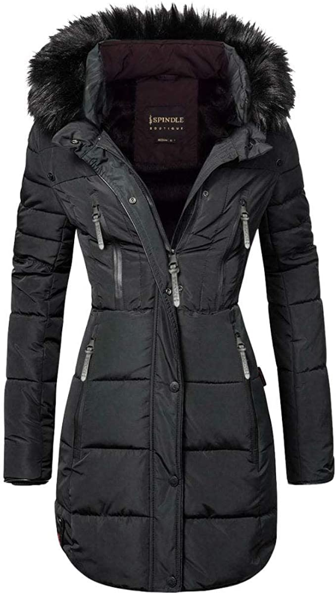 Spindle Womens Designer Long Fur Parka Hooded Jacket Quilted Winter Padded Coat Zip Pockets: AmazonSmile: Clothing