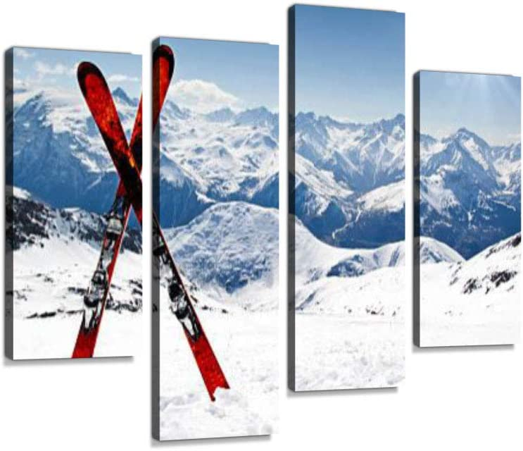 Pair of red skis Crossed and Wedged in Snow on Mountain Canvas Wall Art Hanging Paintings Modern Artwork Abstract Picture Prints Home Decoration Gift Unique Designed Framed 4 Panel