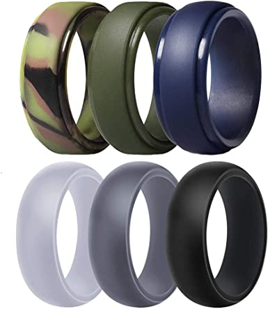 Best for Workout Dookeh Breathable Mens Silicone Wedding Rings Black Blue Camo Engagement Band 1-4-7 Pack Rubber Ring Bands For Men