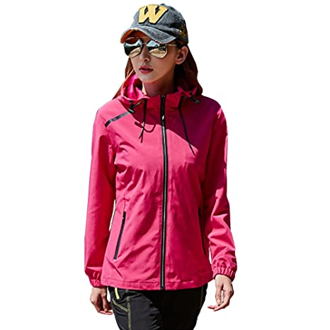 e8feedaa39a Image Unavailable. Image not available for. Color  Womens Hiking Running  Full Zip Jacket Plus Size Spring Winter Water Resist Rain Jacket Coat  Brethable