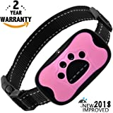 Dog Bark Collar 2018 Upgrade - Humane Automatic & Hands Free - No Shock - No Harm - Waterproof E Collar - 7 Adjustable Sensitivity Levels - Small Medium Large Dogs - FREE BONUS! Clicker & eBook!