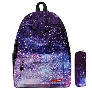 d0a746a709116 Galaxy Muster Schulrucksack Unisex Reise Rucksack Taschen Freizeit  Schultaschen Backpack für Mädchen Jungen Kinder Damen Herren Jugendliche  mit Kleine ...