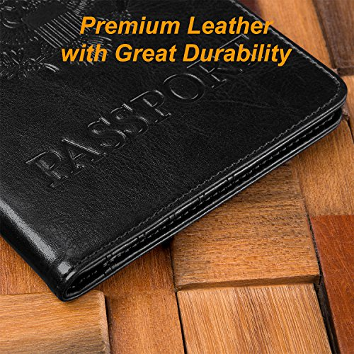 DTTO RFID Blocking Passport Cover, Multi-functional Premium Leather Passport Holder Travel Wallet Cover Case - Black by DTTO (Image #4)