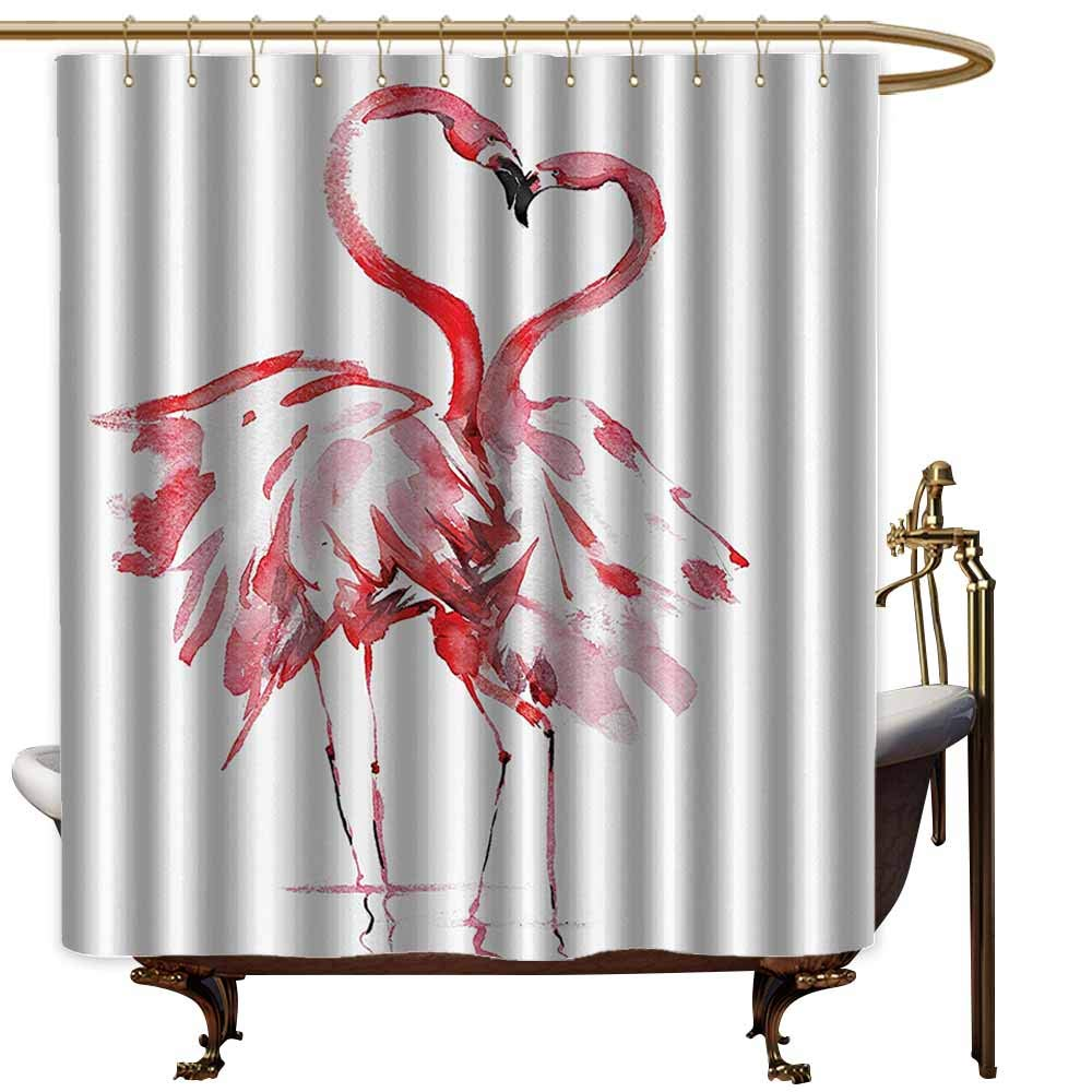 Godves Long Shower Curtain,Flamingo Decor Flamingo Couple Kissing Romance Passion Partners in Love Watercolor Effect Art Work,Fabric Shower Curtain Bathroom,W72x84L,Pink White