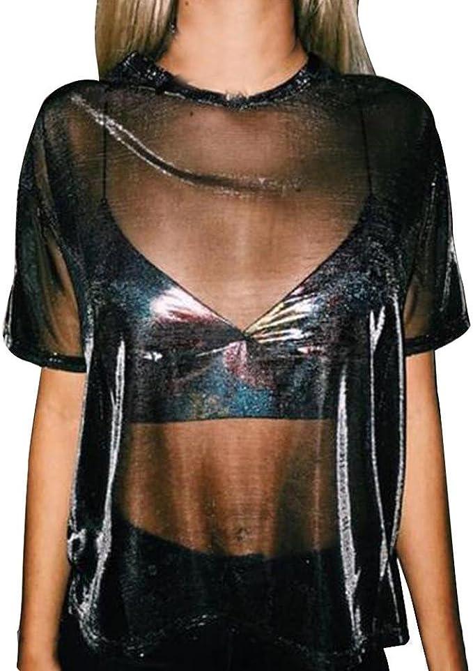 Camisas Mujer, Xinan Top Sexy Mujer Camiseta Manga Corta Cuello Redondo Transparente Hollow Blusa: Amazon.es: Ropa y accesorios