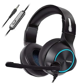 QUICKLYLY Auriculares Gaming PS4,Cascos Gaming, Auriculares Cascos Mac Estéreo Micrófono Juego Headset Luz