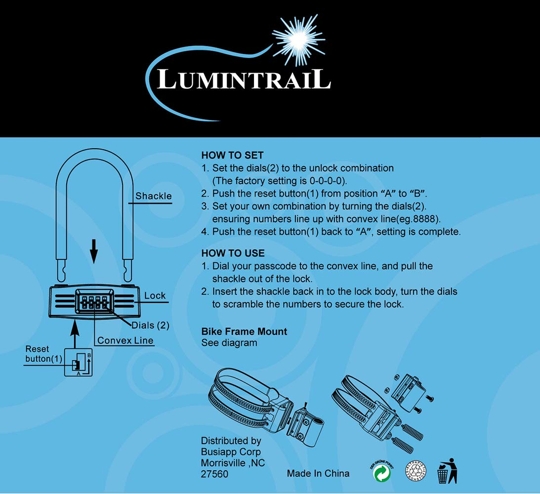 Lumintrail 14mm 4 Digit Combination Bike Cable Lock And Digital Circuit Diagram Super Bicycle U Combo Package With Foot Braided Steel Looped Security Sports