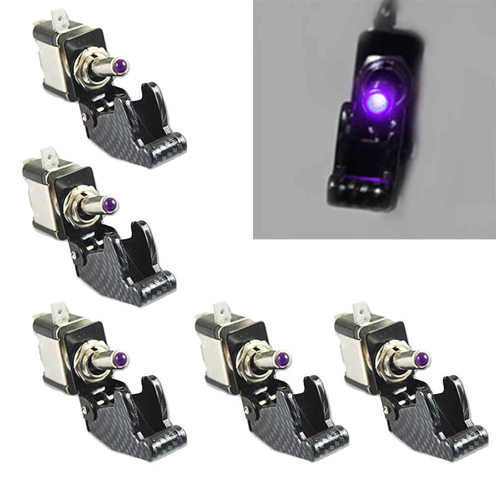 Etopars/™ 5 X 12V 20A Carbon Fiber Cover Yellow LED Light Rocker Toggle Switch SPST ON//OFF Car Vehicle Boat