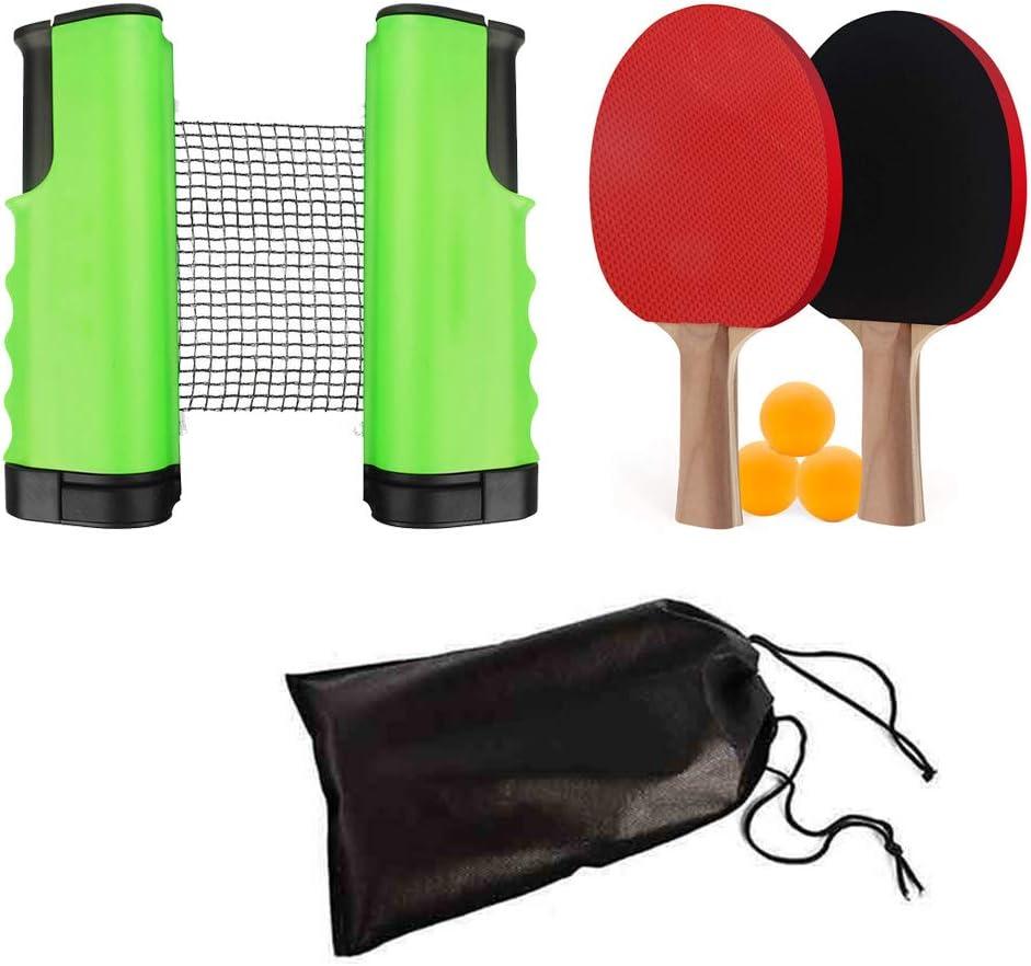 ISUNEED - Juego de tenis de mesa portátil con red retráctil (abrazaderas de soporte), 3 pelotas y 2 palas de ping-pong, perfecto para el hogar interior o al aire libre