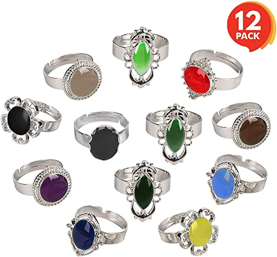 ArtCreativity Color Changing Mood Rings for Girls and Boys - Set of 12 - Adjustable Rings with Color Key Card - Assorted Kids Toy Jewelry - Cute ...