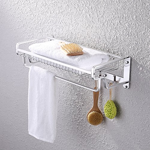 KES Aluminum Bathroom Shelves Towel Rack Basket with Towel B