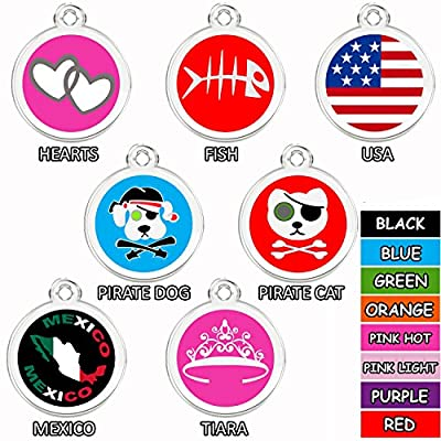 CNATTAGS Stainless Steel with Enamel Round Pet ID Tags Various Designs and Colors from CNATTAGS LLC