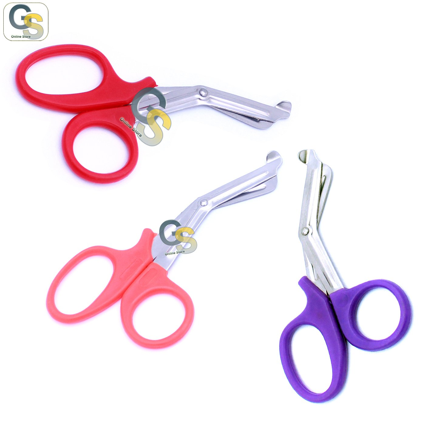 G.S 3 PCS (RED & PINK & PURPLE) PARAMEDIC UTILITY BANDAGE TRAUMA EMT EMS SHEARS SCISSORS 7.25 INCH STAINLESS STEEL