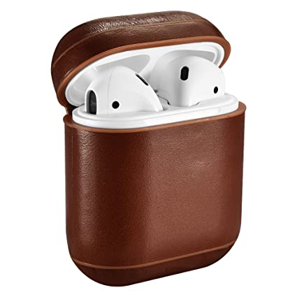 separation shoes c2f5c 91c4d AirPods Case, ICARER Genuine Airpods Leather Case (Front LED Not Visible)  Wireless Charging Cover for Apple AirPod 2 & 1 (Brown)