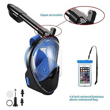 AOLAIS - Máscara de snorkel con visión 180º, para adulto, con soporte para GoPro