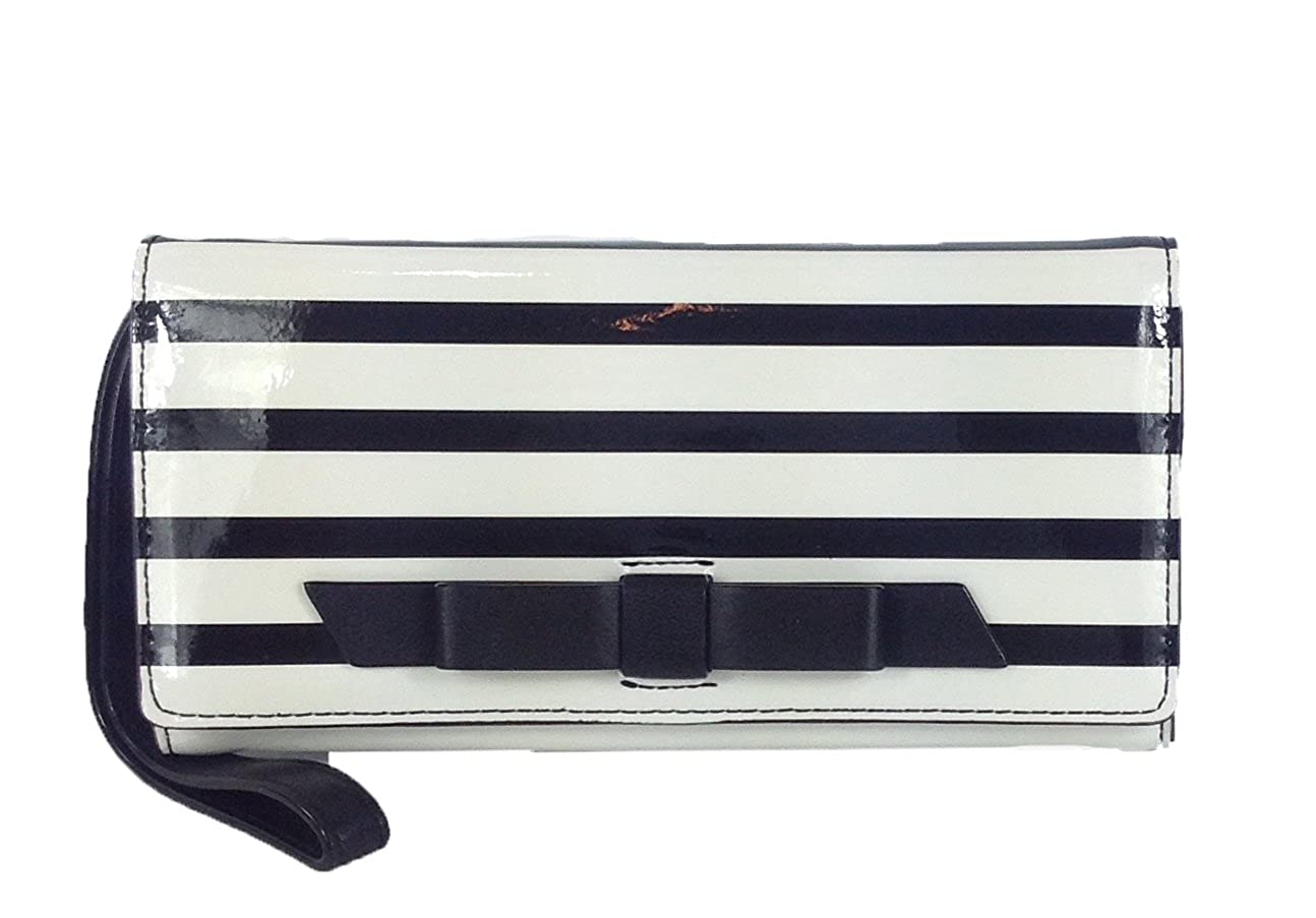 Kate Spade Chelsea Park Striped Mara Wristlet Wallet, Black/Ice WLRU1722