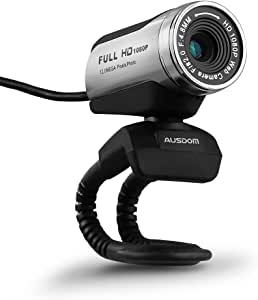 AUSDOM HD Webcam 1080P with Microphone, USB Desktop Laptop Web Camera 12.0MP, Auto Exposure, Digital Zoom, Pro Streaming Computer Camera for Laptop/Desktop/Skype/FaceTime/YouTube/Yahoo Messenger