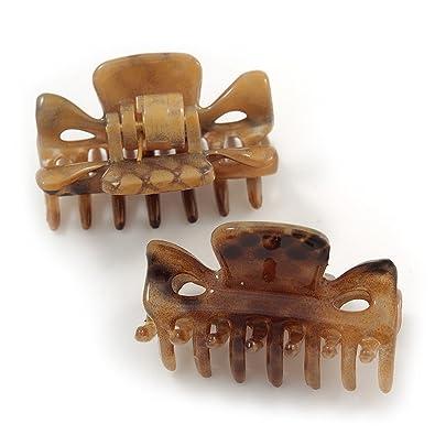 Avalaya Medium Snake Print Shiny Acrylic Hair Claw/Clamp (Brown/Beige) - 6cm Long GrrhKfAik