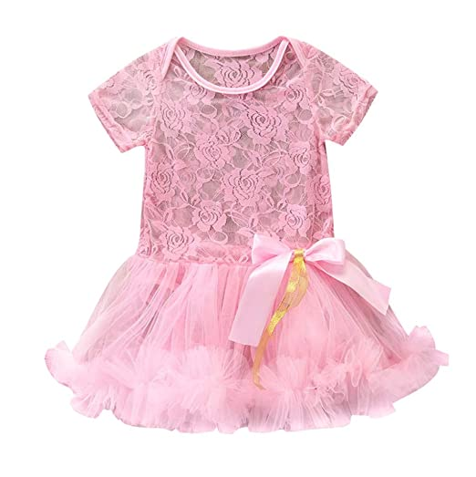 442b29aef34 NUWFOR Newborn Kids Baby Girl Outfits Clothes Lace Tulle Romper Jumpsuit  Princess Dress(Pink