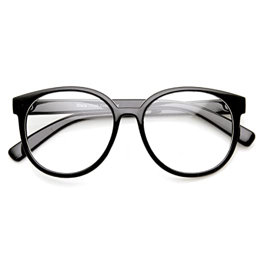 66c8d0eeaa Retro Fashion Oversized P3 1980s Style Frame Clear Lens Glasses (Black  Clear)