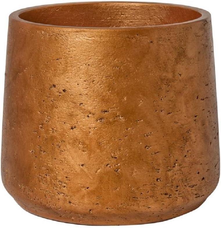 Pottery Pots Metallic Copper Planter Fiberstone Indoor and Outdoor Flower Pot 8 H x 9
