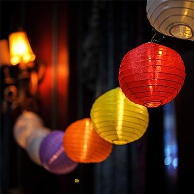 LOKATSE HOME 13 Ft 20 LED Nylon Colorful Paper Lantern String Lights Outdoor Indoor for Weddings, Christmas, Garden, Halloween, Bedroom Party Decoration (Renewed) : Garden & Outdoor