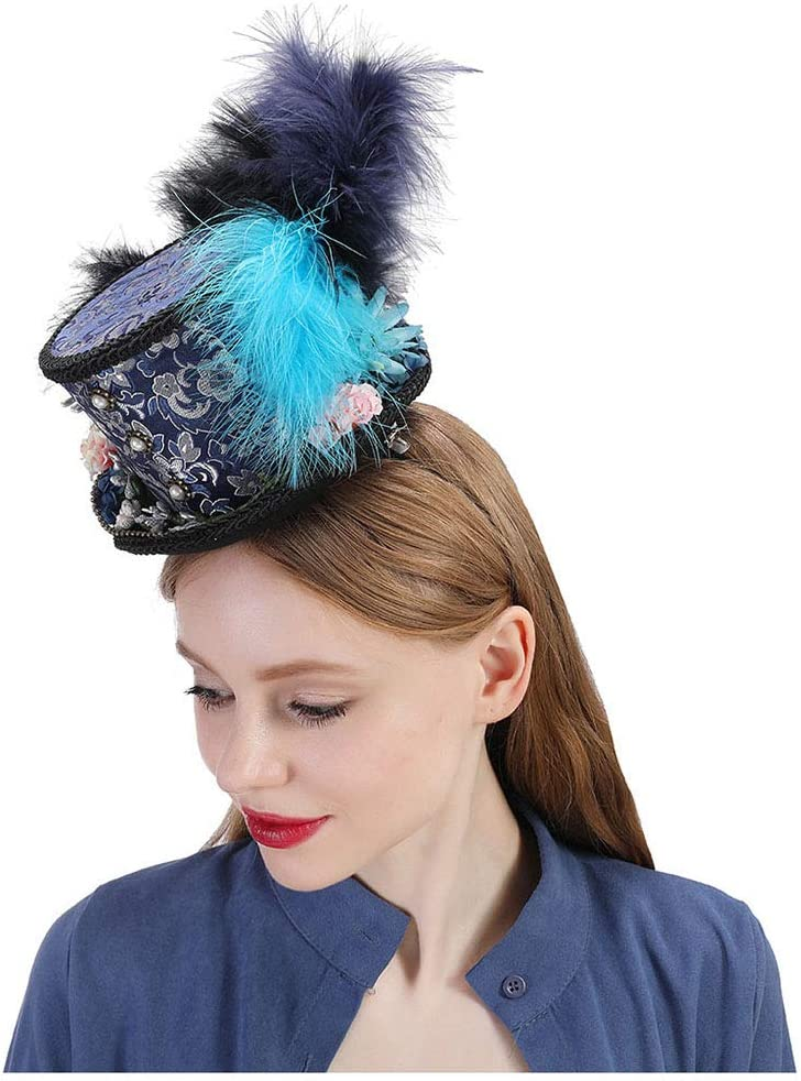 Duyani Mini Sombrero de Copa, Turquesa Real Ascot, Sombrero de la Carrera de Caballos, Sombrero de la Fiesta del té de Paisley, Sombrero del Sombrerero Enojado (Color : Draw Blue, Size : 25-30cm)