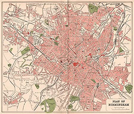 Map Of Uk Birmingham.Birmingham Antique Town City Map Plan Warwickshire 1893 Amazon