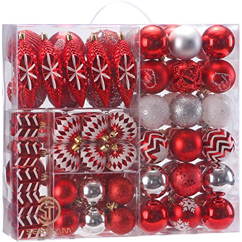 Sea Team 75 Pieces of Assorted Shatterproof Christmas Ball Ornaments Set Seasonal Decorative Hanging Ornament Set with Reusable Hand-held Gift Package for Holiday Xmas Tree Decorations, Red