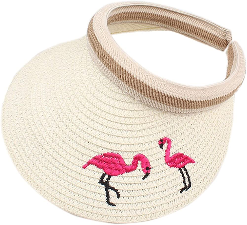 BIBITIME Straw Hat Flamingo Embroidered Sunhat for Kids 3-8 Years Open Top Cap