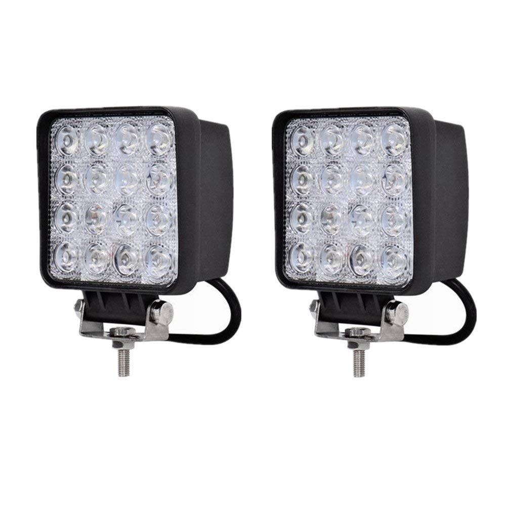 MCTECH 2 X 48W LED Offroad Flutlicht Reflektor Scheinwerfer Arbeitslicht SUV, UTV, ATV Arbeitsscheinwerfer Zusatzscheinwerfer Offroad Scheinwerfer 12V 24V Rü ckfahrscheinwerfer (2 X 48W Quadrat)