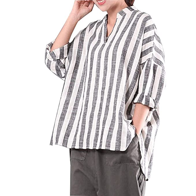 cf24ecfb35a Women s Plus Size Long Sleeve 100% Cotton Casual Loose Plaid Blouse Tops  Shirts (Small