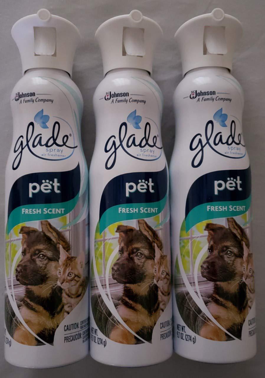 3 GLADE Premium Room Air Freshener Spray 9.7oz Cat/Dog PET FRESH Scent New by Glade