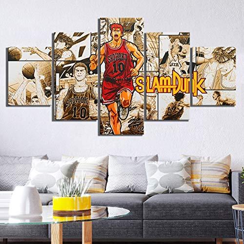 SFXYJ 5 Pieces Canvas Print - Anime Hanamichi Sakuragi SLAM Dunk Poster - HD Basketball Comic Wall Art Pictures - The Best Home Decor for Kids ()