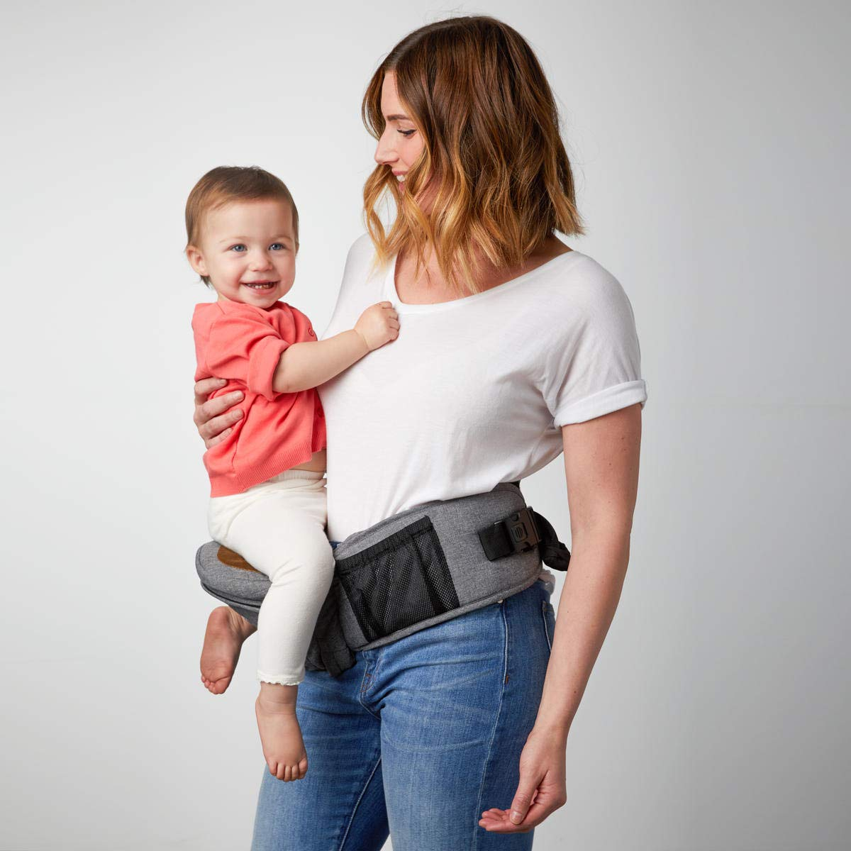 TushBaby The Original Hip Seat Baby Carrier, Grey by TushBaby (Image #1)