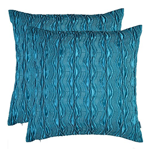 Artcest Set of 2, Decorative Throw Pillow Case, Comfortable Solid Faux Silk Cushion Cover, Pintuck Pleated Fashion and 3D Striped, 18