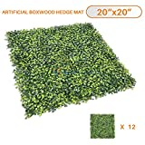 Sunshades Depot Artificial Boxwood Milan Leaf Grass Fence Privacy Screen Evergreen Hedge Panels Fake Plant Wall 20''x20'' inch (12pcs)