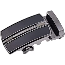 SODIAL Mens Solid Buckle Automatic Ratchet Leather Belt Buckle With hollow-Silver R